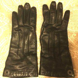Women's Long Coach Black Leather Gloves